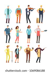 Man and woman workers with tools in uniform. Cartoon vector characters of different professions isolated. Ilustration of musician and cook, specialist teacher and logger, gardener and doctor