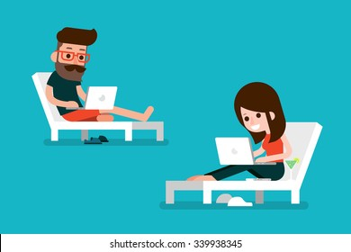 Man and woman working on computer.