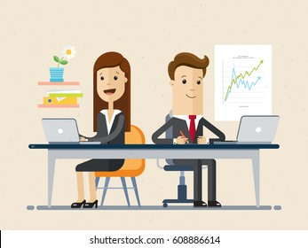 Man and woman works together, colleagues, employees. Woman and man sit at the table on workplace, works on laptops. Vector, illustration, flat