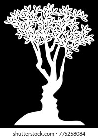 Man and womans faces tree optical illusion formed from a man and womans face concept design