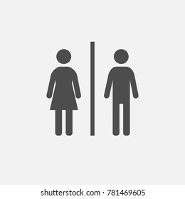 Man and women bathroom door sign illustration