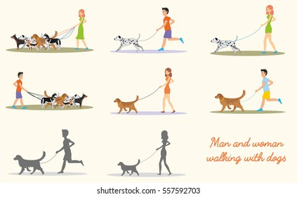 Man and women and in casual clothes walking the dogs of different breeds. Set of vector illustrations.