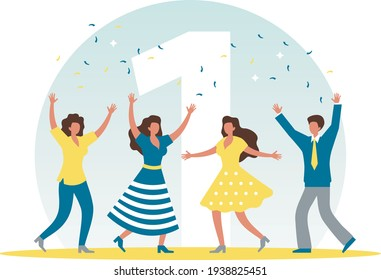 The man and women are celebrating a victory. Vector illustration.