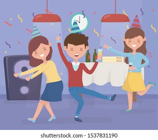 man and women dancing and drinking celebration party vector illustration