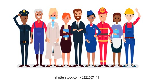 Man and Women different profession characters of different races and views vector design