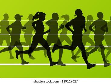 Man and women marathon runners silhouettes in sport stadium landscape background illustration vector