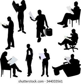 man and women reading newspaper silhouettes - vector