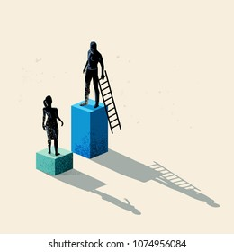 A man and women seperated by height. Gender issues in business including equal rights and pay gaps. Conceptual vecor illustration.