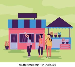 man and women with smartphone market street activities outdoors vector illustration