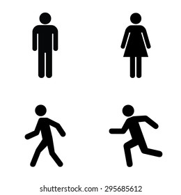 Man and women stands , walk and run icon set