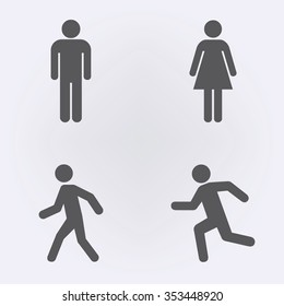 Man and women stands , walk and run icon set . People icon set . Vector illustration