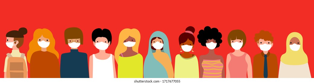 man and Women wearing protective medical mask for prevent virus.Coronavirus protection mask.male and female in white medical face mask