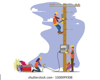 Man work electrical installation on the city. Concept for electrical service, Flat style vector illustration isolated on white background, suitable for wallpaper, banner, book illustration