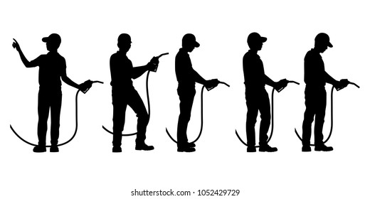 The man work at gas station silhouette vector set