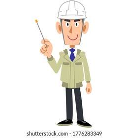 A man in a work wear wearing a helmet with a pointing stick