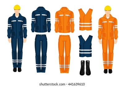 Man worker in professional clothes and yellow safety helmet. Set of protective wear on white background