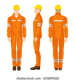 Man worker in professional protective clothes and yellow safety helmet. Various turns man's figure. Front view, side and back view.