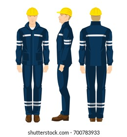 Man worker in protective uniform, boots and yellow safety helmet. Various turns man's figure. Front view, side and back view.