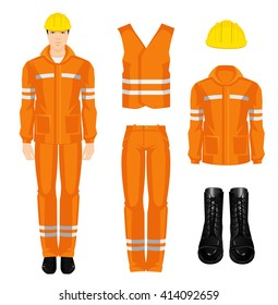 Man worker in protective wear, shoes and yellow safety helmet on white background