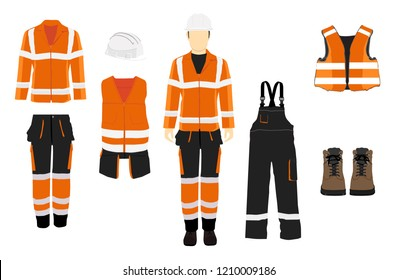 Man worker in uniform. Professional protective clothes, boots and  safety helmet. Various turns man's figure. Front view, side and back view.