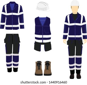 Man worker in uniform. Professional protective clothes, boots and safety helmet. Man's figure.