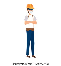 man worker using face mask isolated icon vector illustration design