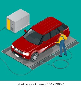 Self service car wash images stock photos vectors shutterstock man worker washing off road car wash 24h service flat 3d vector isometric solutioingenieria Gallery