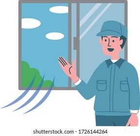 man worker window open ventilate