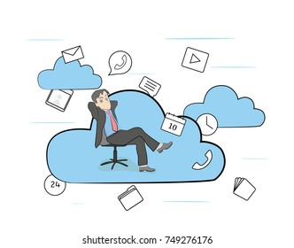 man in a working chair in the clouds. vector illustration.