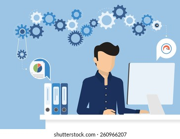Man is working with computer. Flat modern illustration of working process at work desk. Vector young man character writing or typing email or study on computer. Working process with desk and gears
