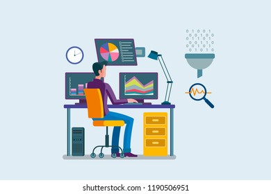 Man working with computer in a office analizing charts and data in different screens