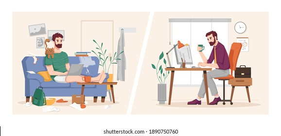 Man working at computer in office and at home, vs flat cartoon illustration. Vector businessman at work place, sitting at desk and on sofa, freelancer and employer, benefits of work, covid quarantine