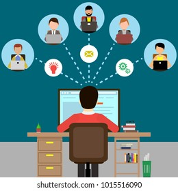 Man working with his team on the Internet. Vector illustration. Isolated.