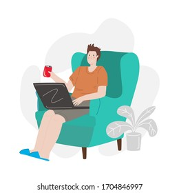 Man working at home. Concept vector flat illustration. Freelancer surfing the internet, holding a laptop and sitting in a chair. Person in quarantine browsing internet. Stay connected during virus.