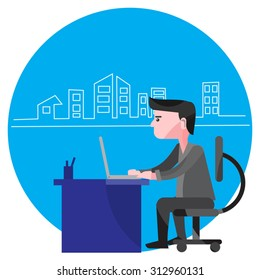 Man Working From Home - An illustration featuring a man sitting in a room at a desk with a laptop to represent working from home with city background