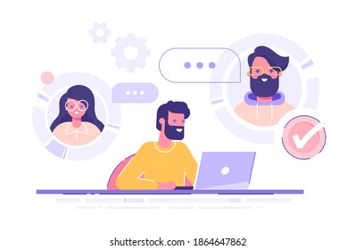 A man is working from home and meeting up with his team, colleagues or friends online via conference video call. Working from home, remote project management, quarantine. Vector illustration.
