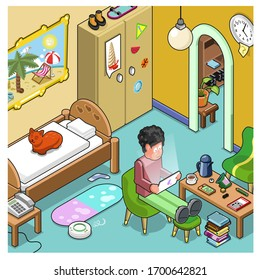 Man working in home office (isometric vector)