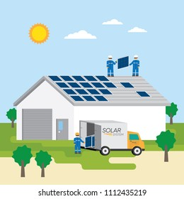 the man working installation solar cell on roof top