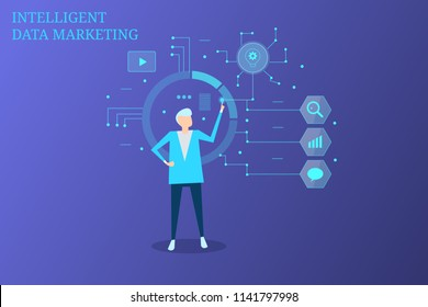 Man working with intelligent data marketing, business intelligence, futuristic concept of data driven marketing on blue background