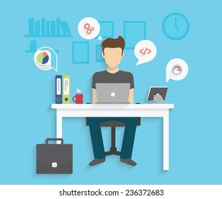 Man is working with laptop. Flat modern illustration of working process. Student is studying at his desk