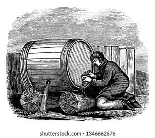 A man working leaky spigot on cask, vintage line drawing or engraving illustration