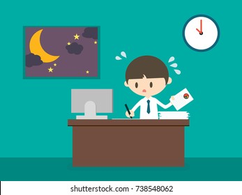 a man working at office until late night; the moon and stars rise up outside. salaryman concept. vector illustration.