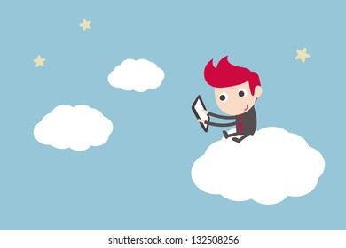 man working on cloud