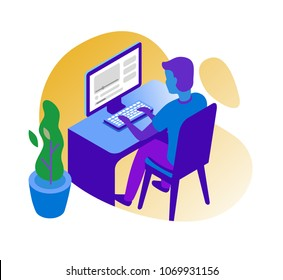 Man working on computer. Vector business icon