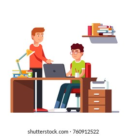 Man working on laptop computer doing business sitting at desk with lamp. His coworker colleague or team lead pointing at something on pc screen. Modern casual office interior. Flat vector illustration