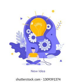 Man working on laptop and giant head with glowing light bulb inside. Concept of new idea, novelty, creative solution, modern thinking and creativity. Vector illustration in flat style for poster.