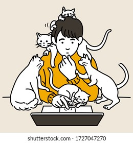 Man working on laptop at home while many cat and kitten playing around him. Stay home and working concept. Outline, linear, thin line art, hand drawn sketch, simple style.