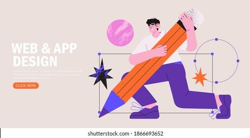 Man is working on ui ux design project. Designer drawing scetch in vector programm with big pencil. Charcter illustration for design online classes or seminar banner, ads, landing page, application.