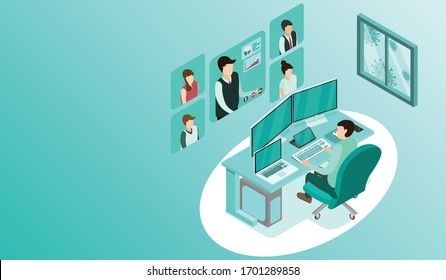 Man working with pc at his work desk with video conference, Working from home, Outside window is virus cells, programmer, business analysis, designer, freelancer, Isometric COVID-19 vector.