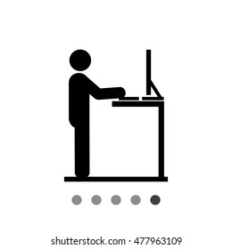 Man Working at Standing Desk Icon